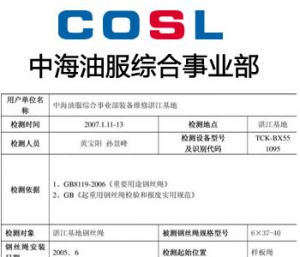 COSL use TCK.W Assessment Report